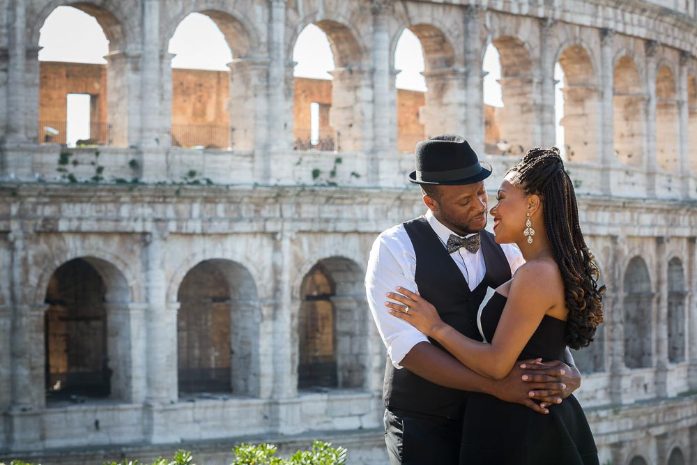 Romantic love at the Roman Coliseum in Rome Italy.