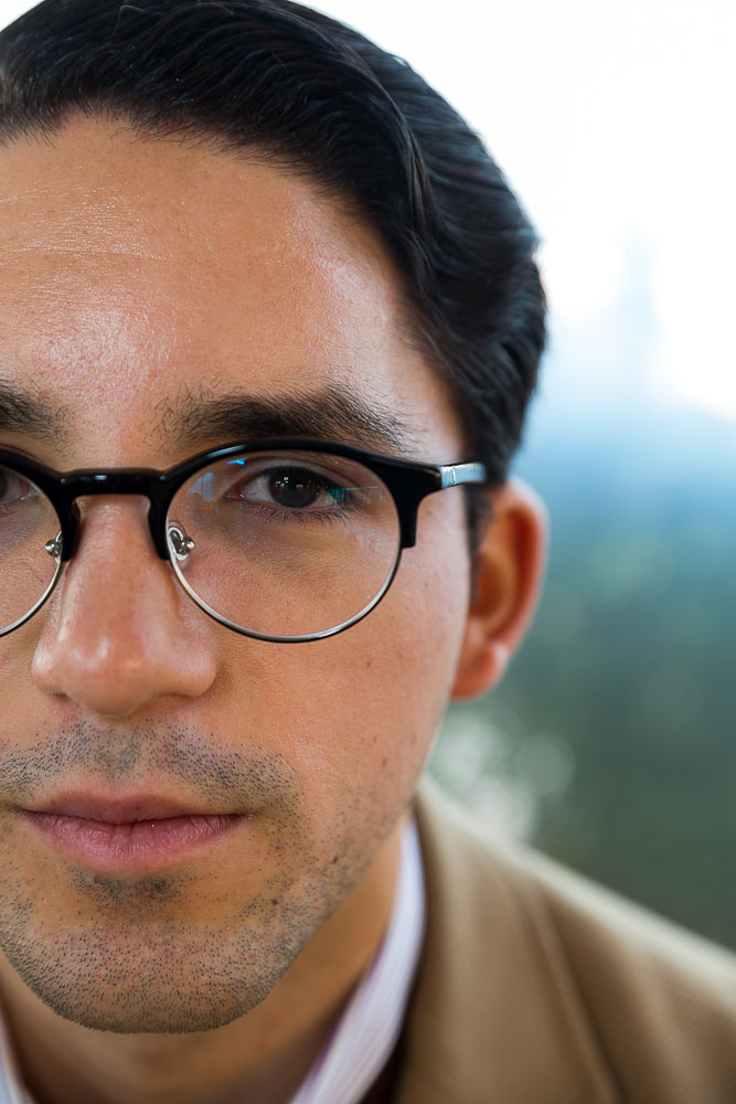 Man close up portrait facial picture with eyeglasses