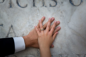 Wedding rings photo close up macro on marble