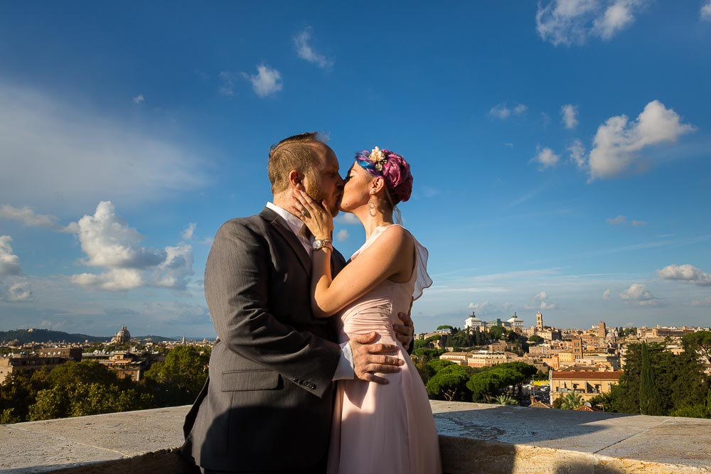 Kissing after a Wedding Anniversary in Rome up on Giardino degli Aranci