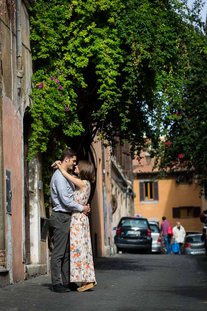 Posing in the alleyway streets of Trastevere during a photo shoot