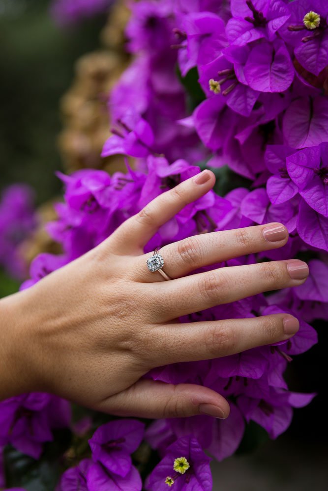 Engagement ring close up over purple flowers