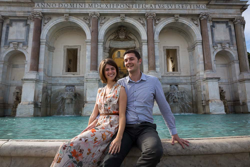 Posing by the Gianicolo water fountain