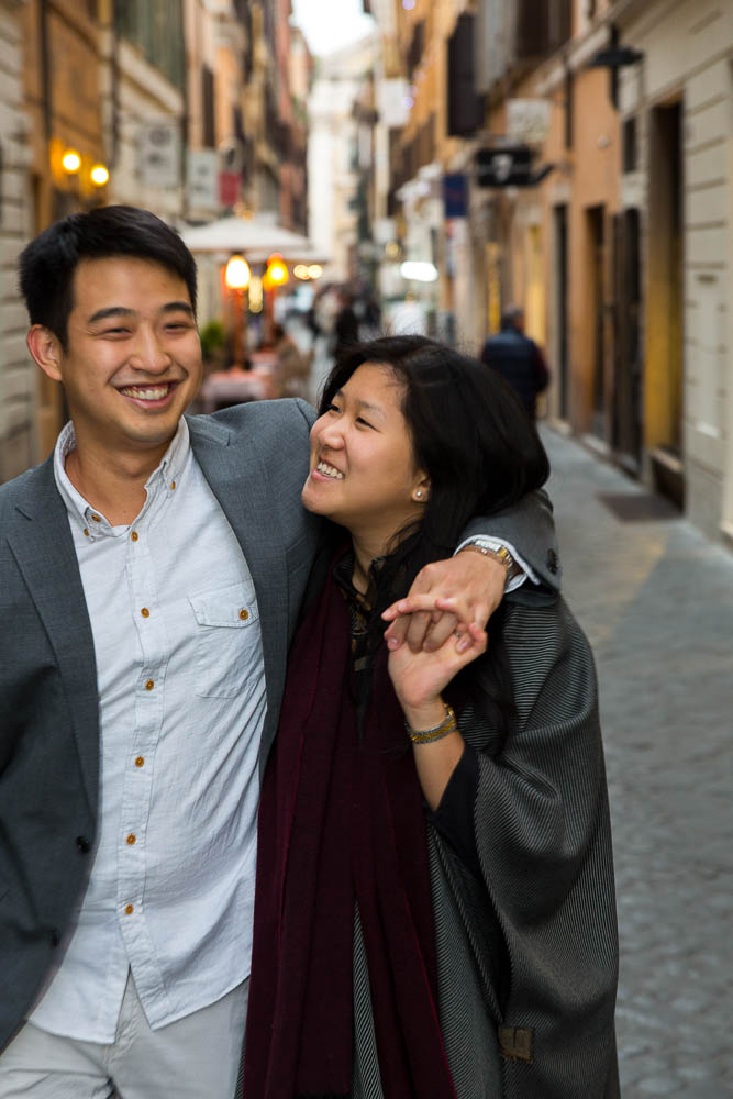 Walking the alleyways in Rome Italy during an engagement session