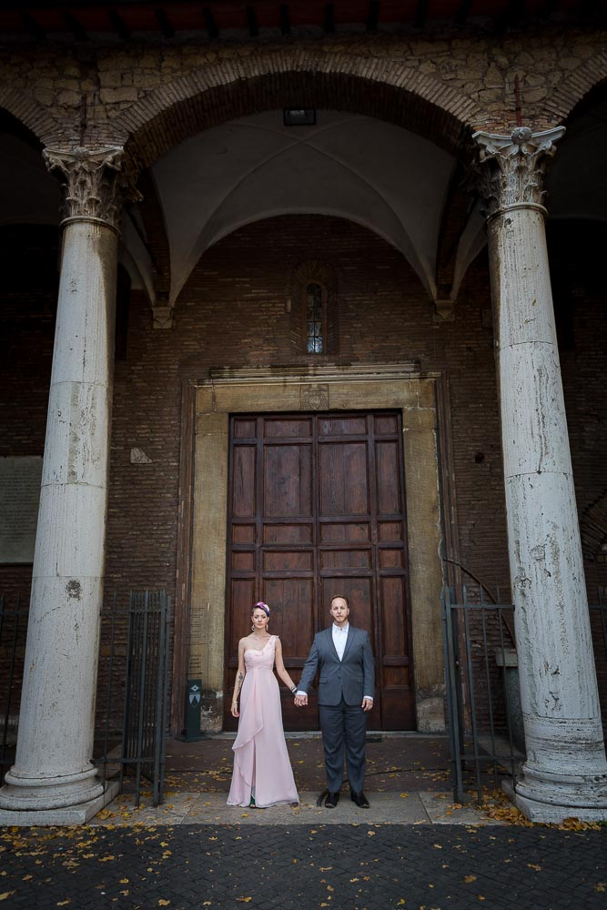 Standing together at the entrance of an ancient church