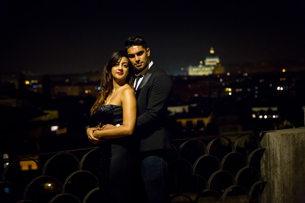 Portrait picture of a couple together for their engagement photos in Rome