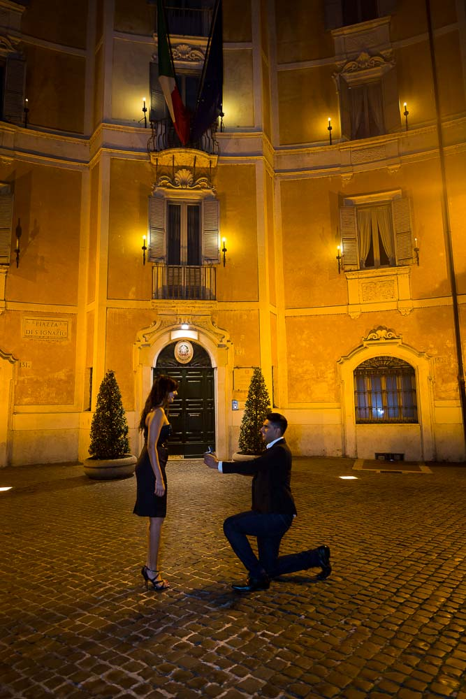 Wedding Night time proposal in a beautiful square