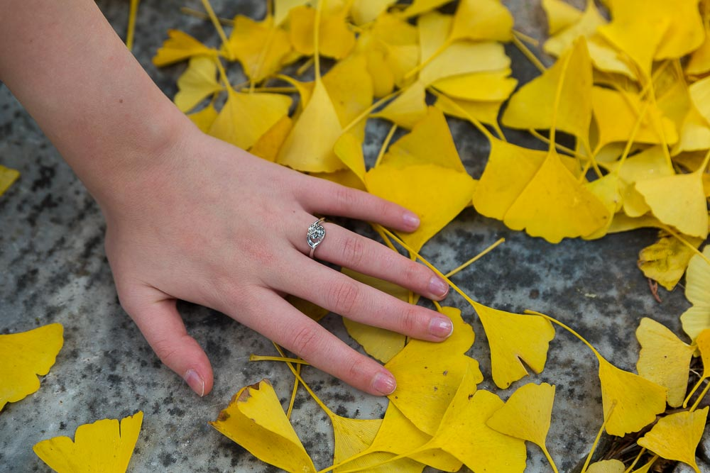 Yellow leaf engagement ring image