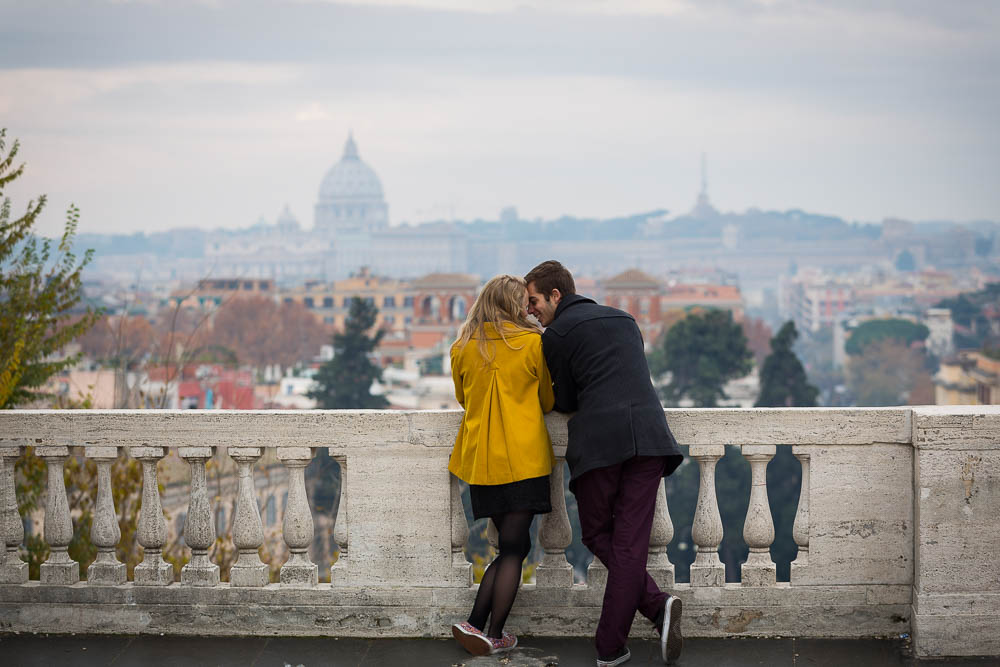Overlooking the city of Rome in love during engagement photos