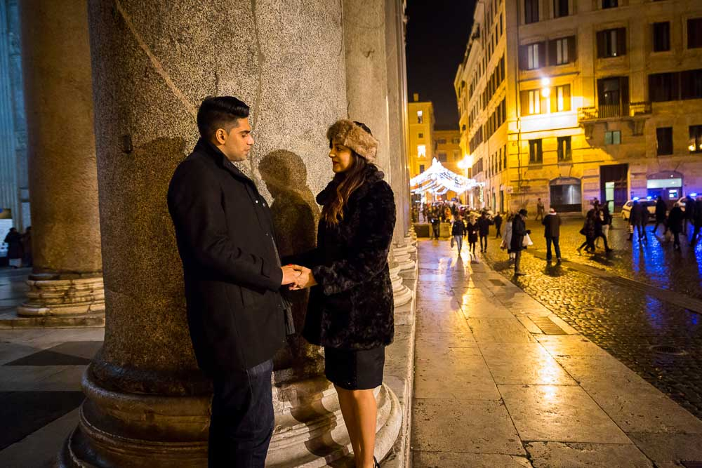Engaged at night at the Roman Pantheon