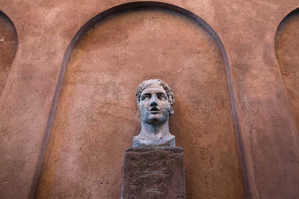 Museum marble roman head