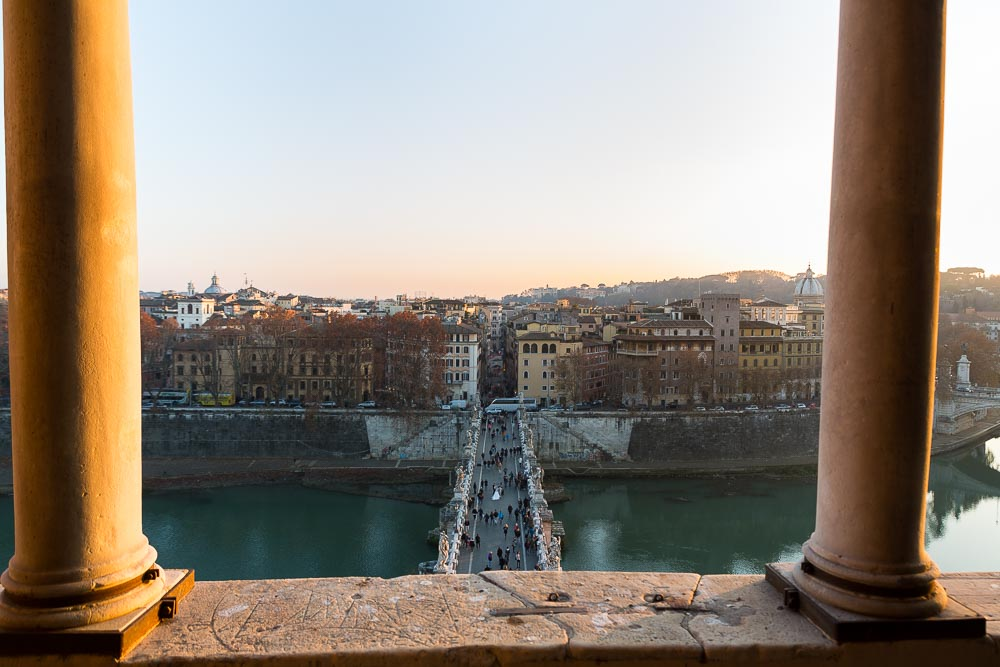 Castle view of Ponte Castel Sant'Angelo in Rome Italy