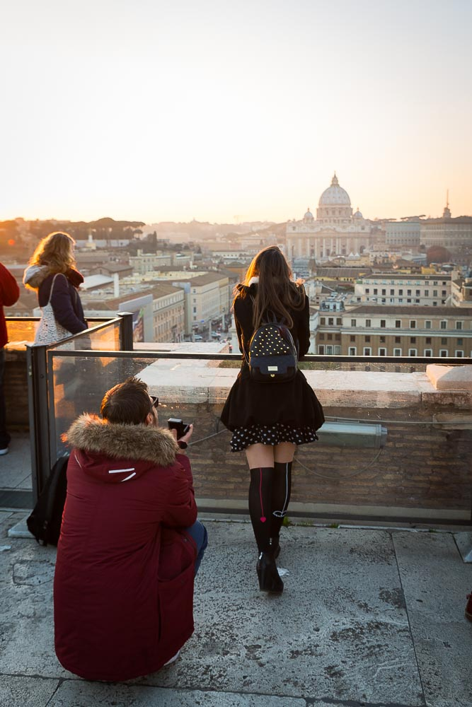 Wedding marriage proposal over Castel Sant'Angelo looking over the skyline view