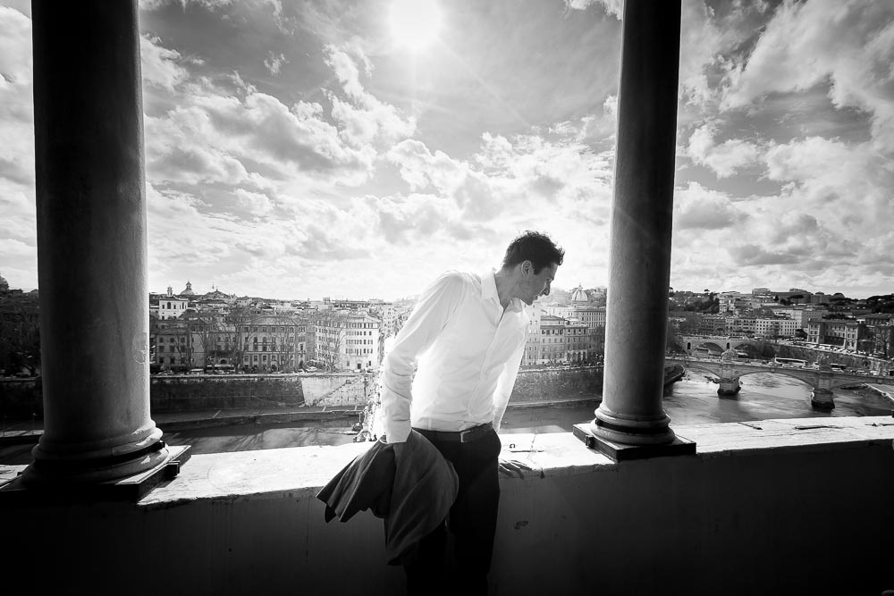 Male fashion model portrait session overlooking Rome