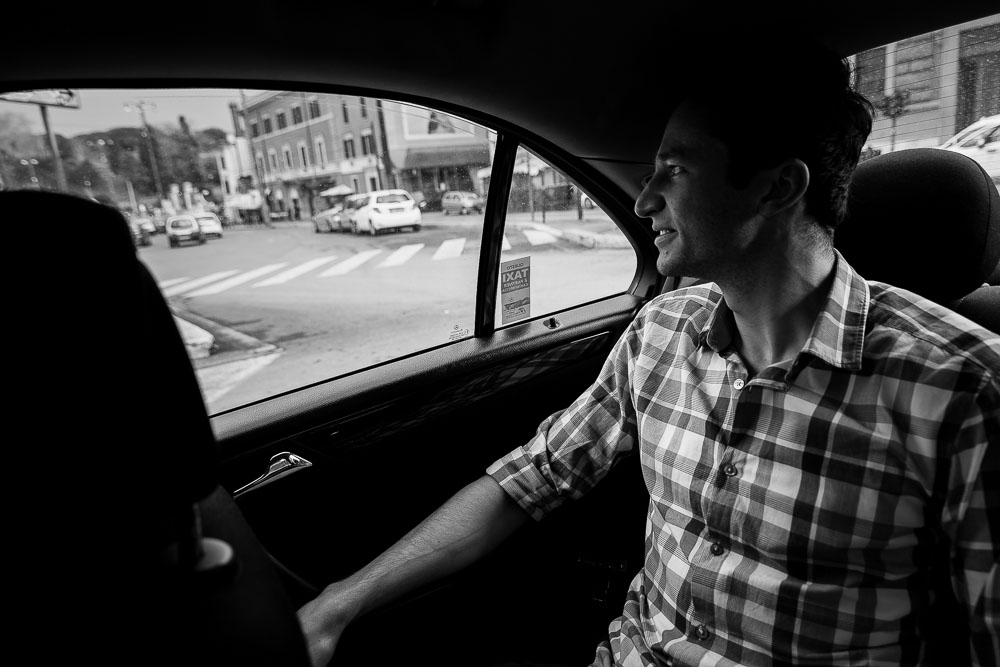 Riding in a roman taxi bw