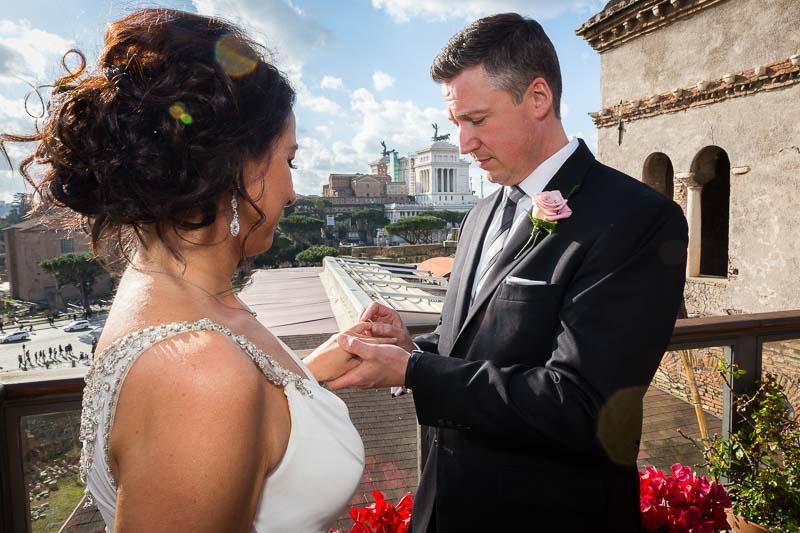 Wedding ring exchange groom