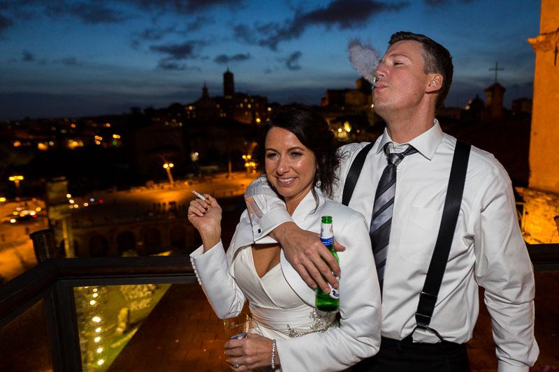 Couple smoking on an overlooking terrace