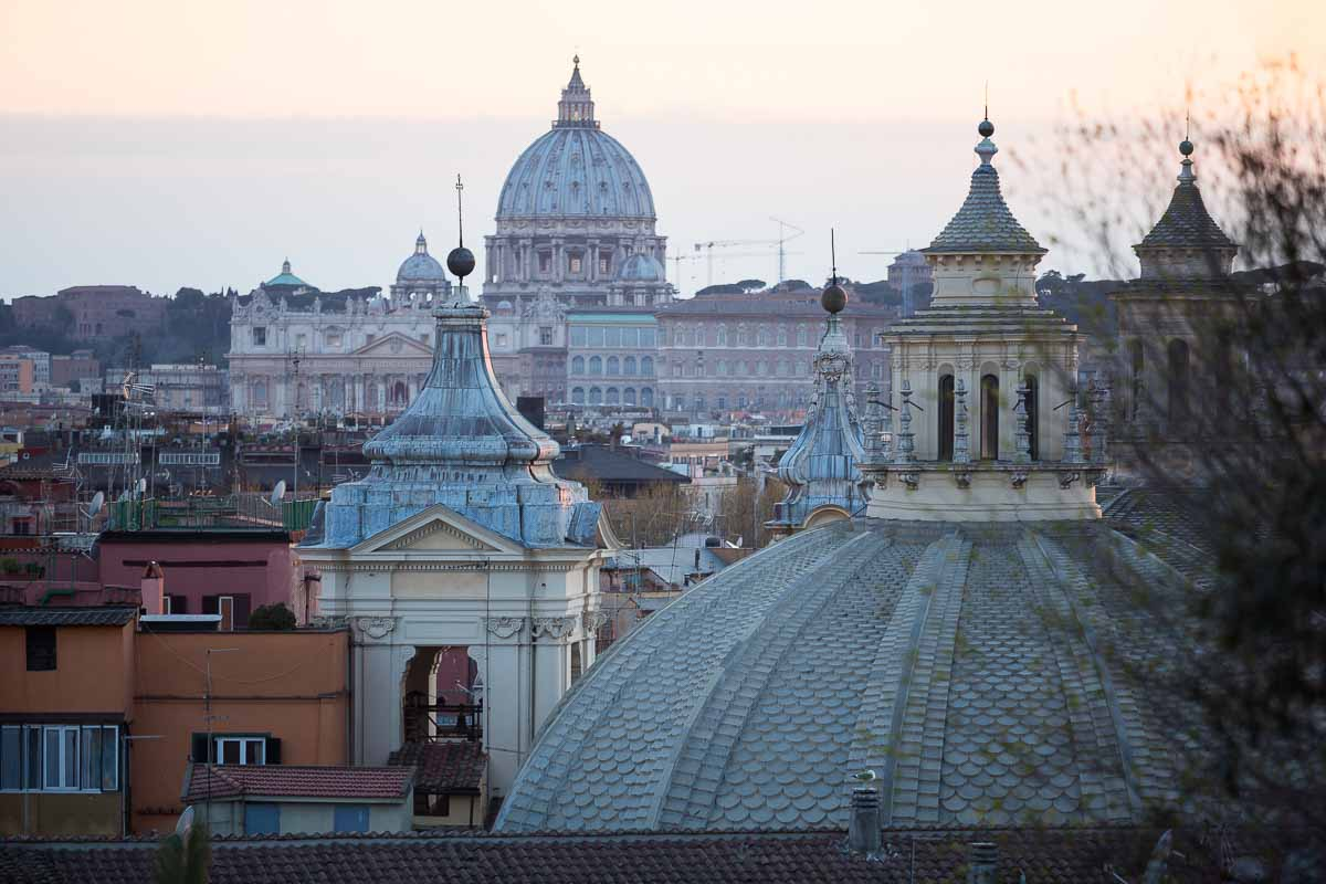 The panoramic view over the roman skyline in Rome Italy