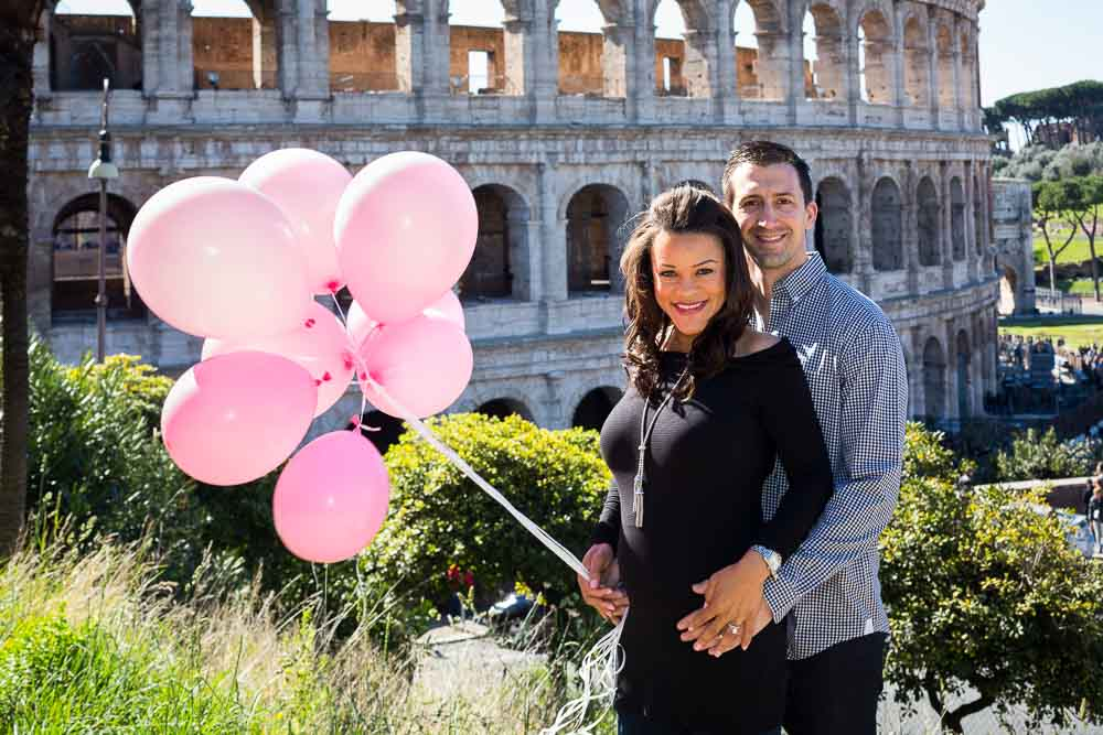 Maternity couple photography at the Roman Coliseum in Rome Italy