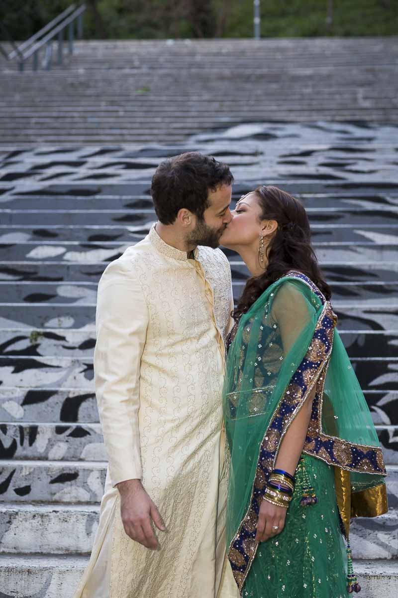 Pre wedding Indian ethnic marriage photography session in the streets of Rome Italy