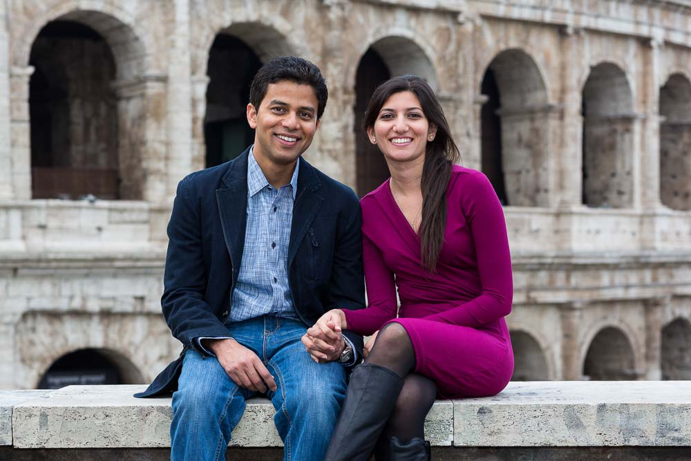 Couple portrait session at the Coliseum in Rome Italy