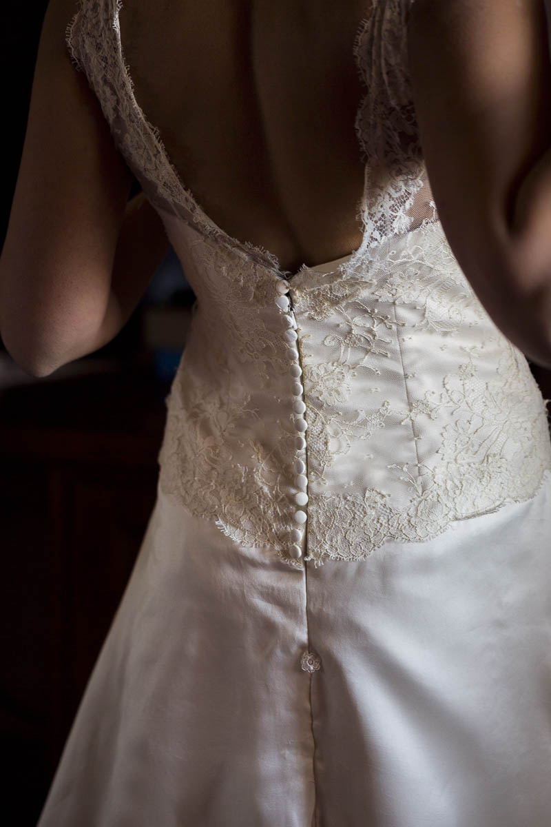 The bridal dress photographed by the light