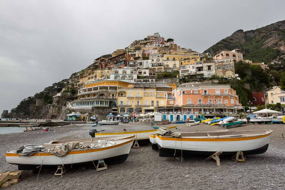 Beach view. Positano town. Amalfi coast.
