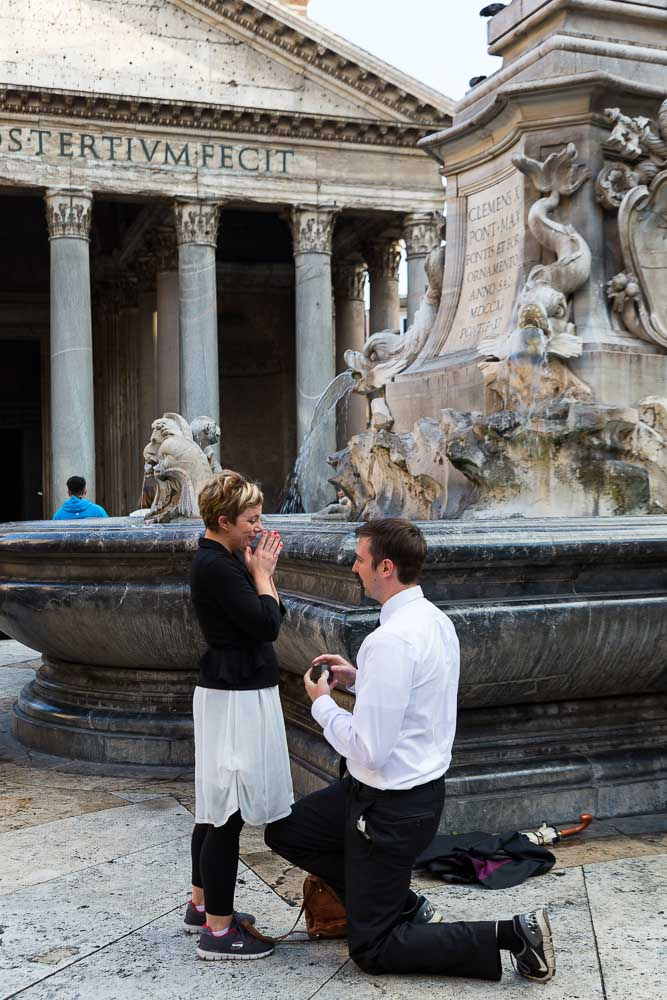 Wedding marriage proposal. Man proposing at the Pantheon in Rome Italy
