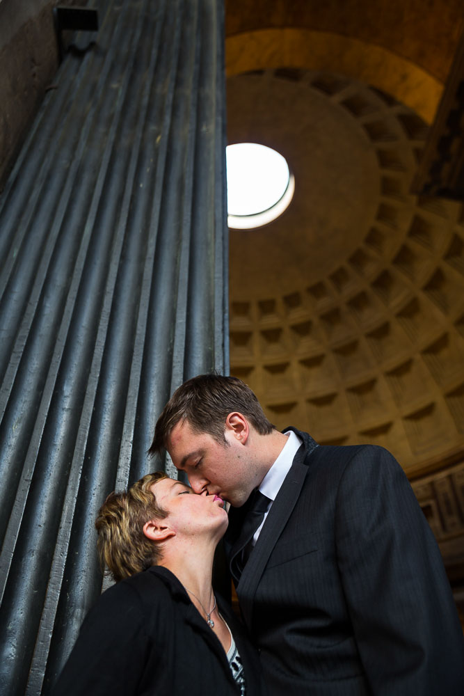 Portrait picture at the entrance of the Roman Pantheon in Rome Italy
