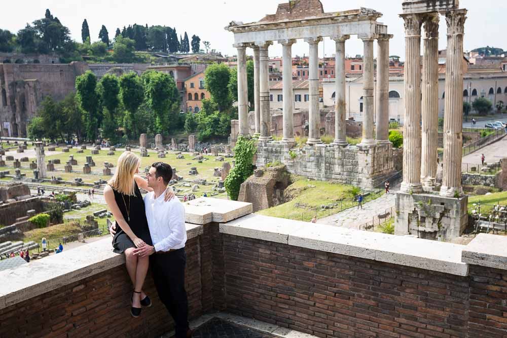 Picture of an engaged couple at the Roman Forum