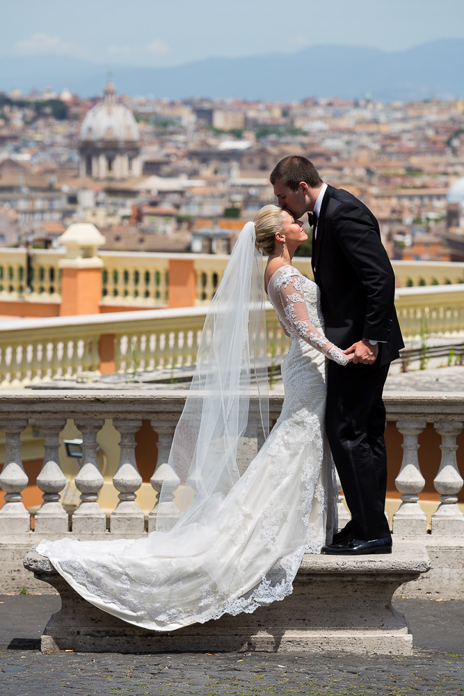 Bride and groom romantic picture during a wedding photo session in Rome Italy. Image by Andrea Matone