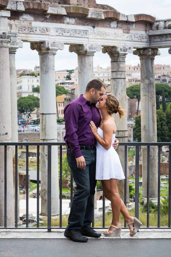 Roman forum couple posing
