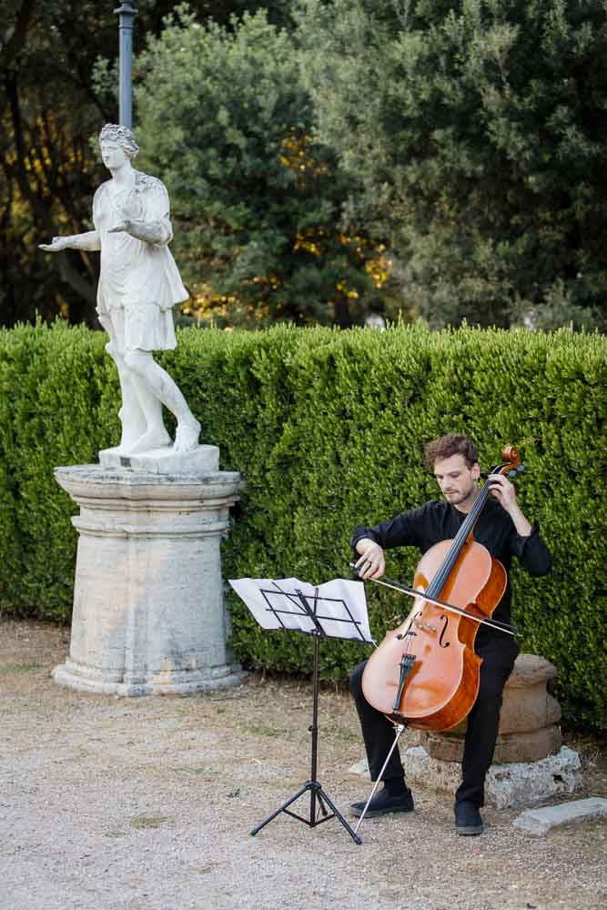 Cello musician player playing music for the couple