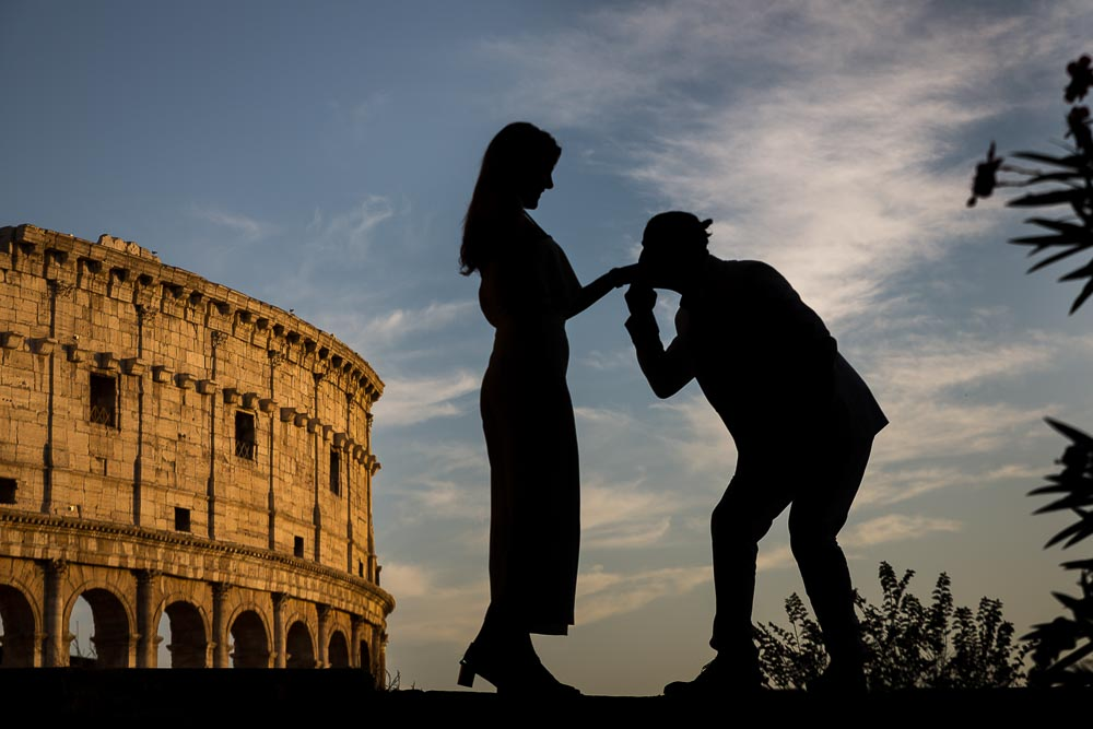 Silhouette image of an engaged couple at the Coliseum in Rome