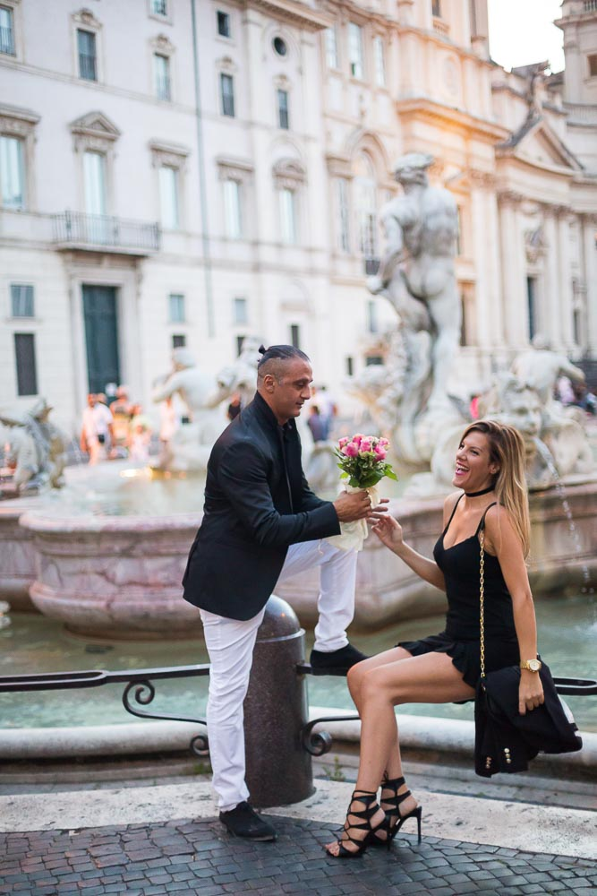 Piazza Navona evening into night lifestyle photo shoot in Rome Italy