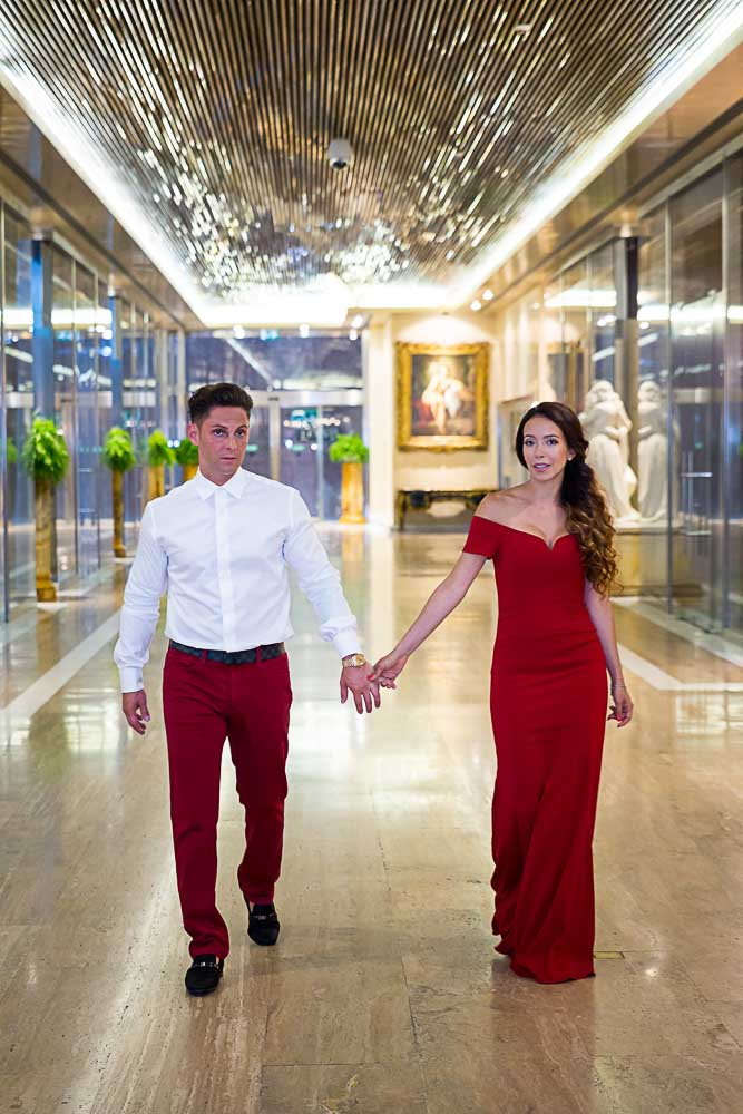 Walking inside the hotel corridors