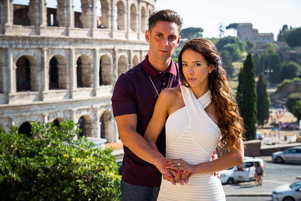 Engagement portrait in Rome Colosseum