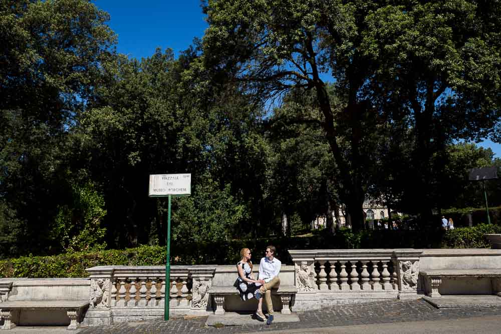 Sitting down a marble bench in a Parco Villa Borghese in Roma