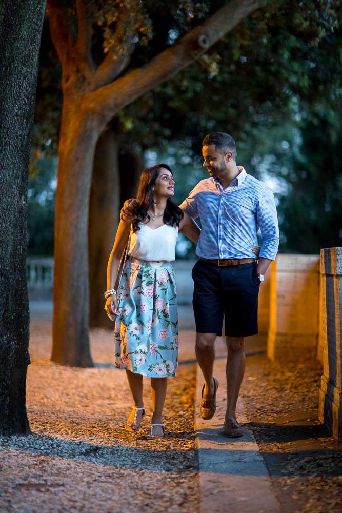 Romantic walking in Villa Borghese