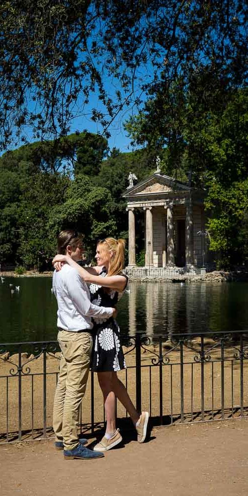 Engagement photography in Rome by the lakeside temple