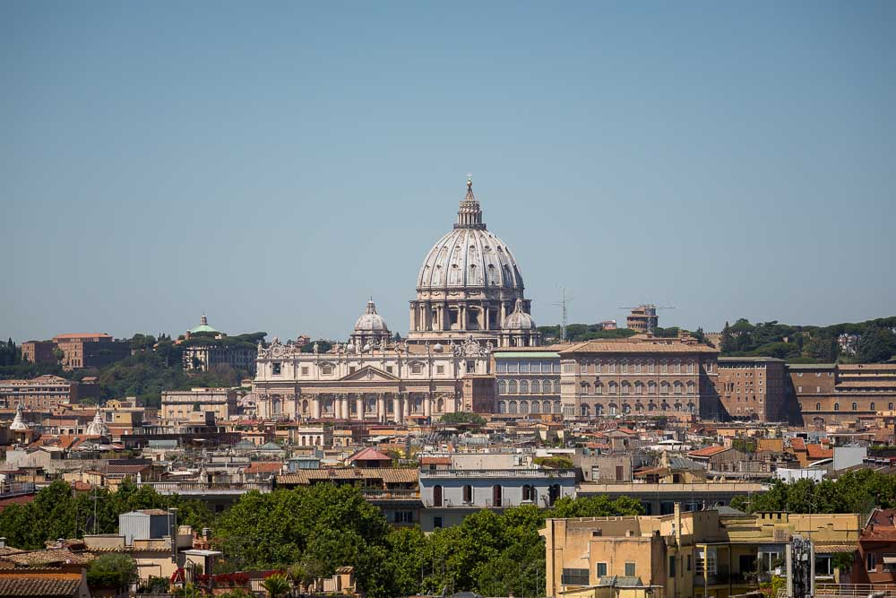 Saint Peter's dome in the far distance in Rome Italy