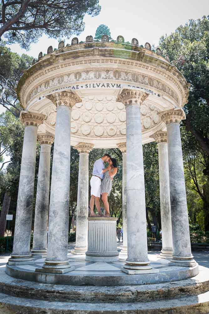 Engagement session portrait taken on Temple of Diana Villa Borghese Rome. Photo by Andrea Matone photographer
