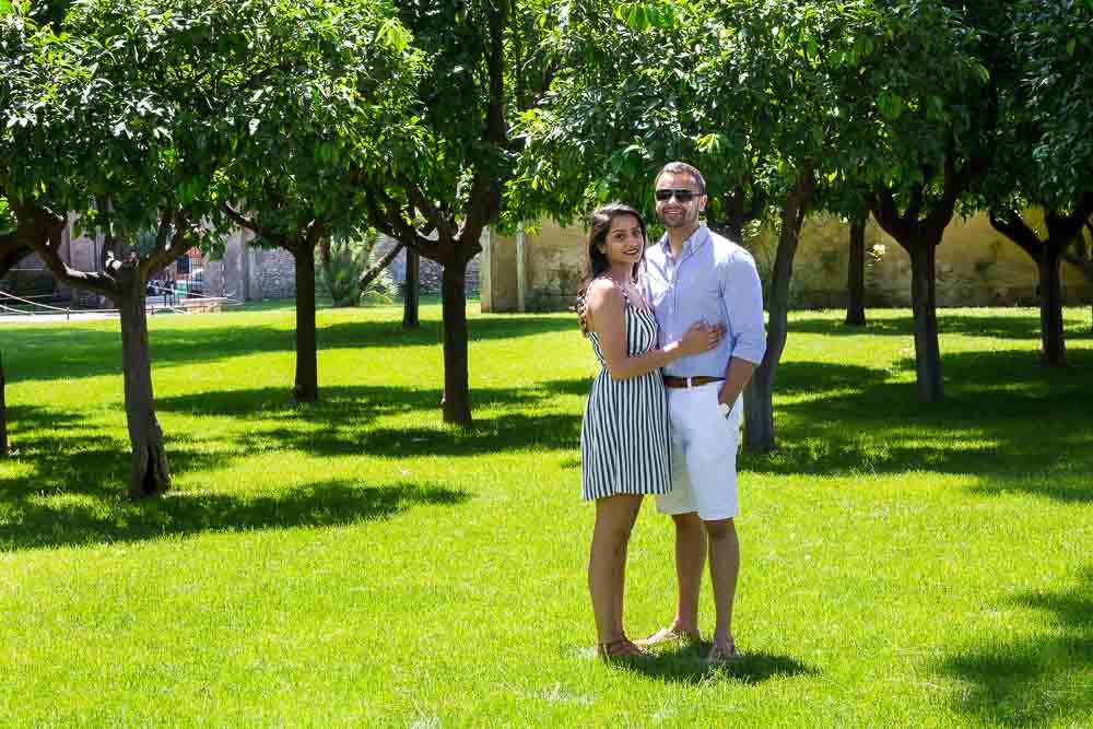 Straight up portrait in bright green grass. Parco degli Aranci in Rome.