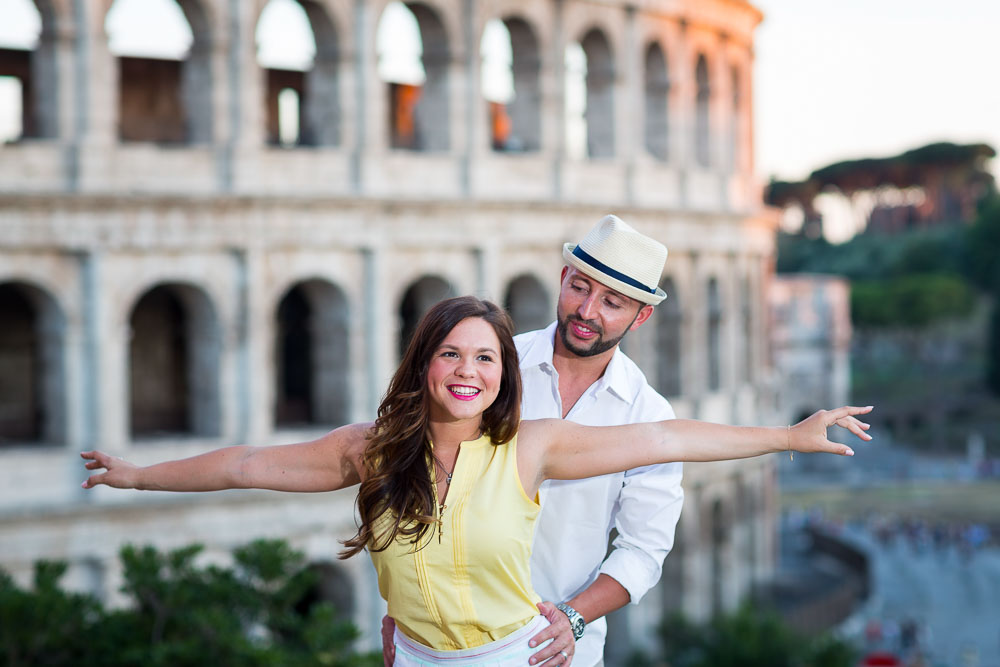 Taking Honeymoon pictures in Rome at sunset