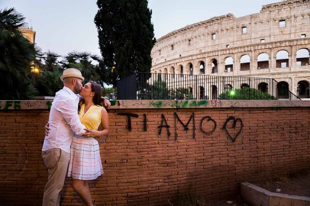 Ti Amo engagement photo session at the Colosseum in Rome