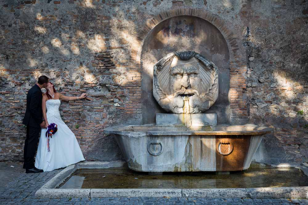 Water fountain in the square newlywed photography session