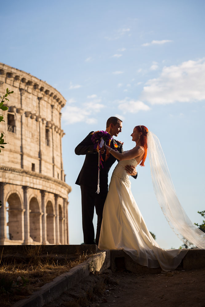 Romantic photo of a wedding couple during their wedding photography in Rome