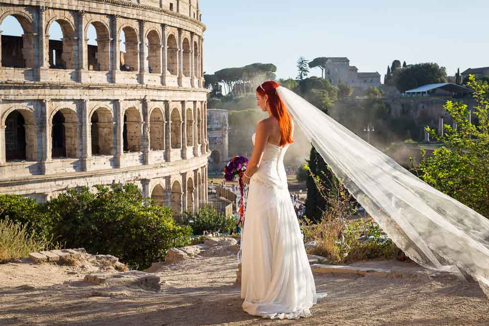Bride portrait over by the roman colosseum
