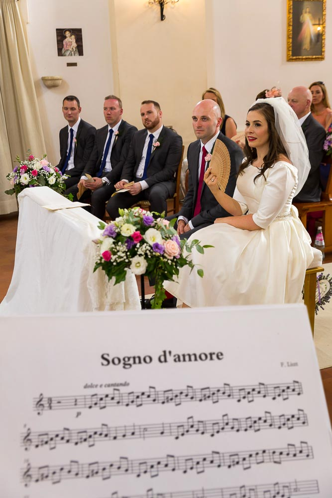 Sogno d'amore musical sheet played during the church wedding