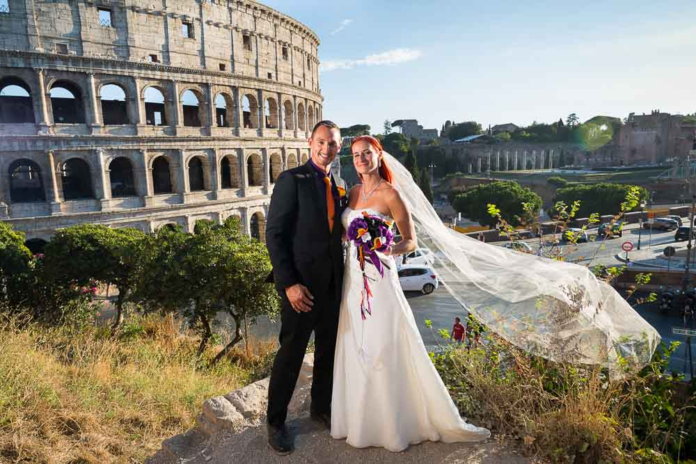 Rome. Posed image of a couple just married
